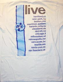 PiL - Official 1986 US 'Tour teeshirt' BACK